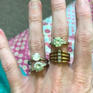 Jewelry - Size 7 lot of 4 Vintage engagement costume rings